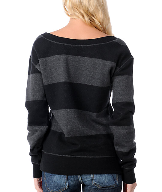 Empyre Cairn Black Striped Crew Pullover Sweatshirt