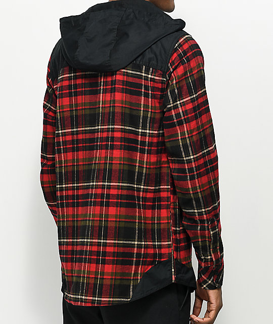 Empyre Cal Red & Black Henley Hooded Flannel Shirt