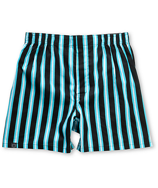Empyre Camper Black & Blue Striped Boxers