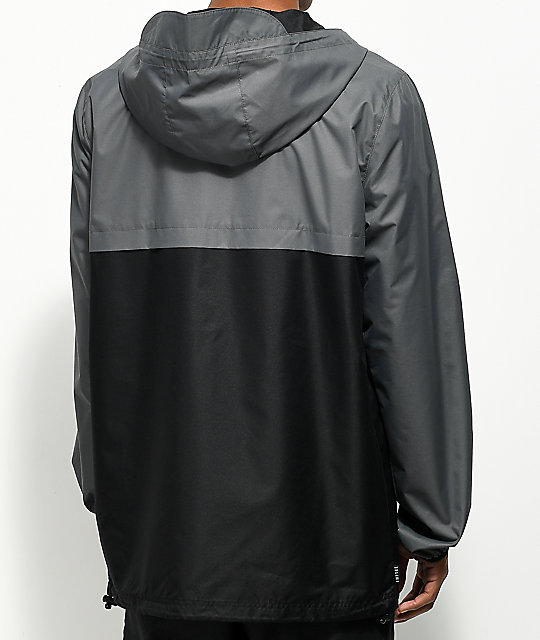 Empyre Camron Charcoal & Black Anorak Windbreaker Jacket