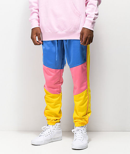 Empyre Caples Blue, Yellow & Pink Track Pants