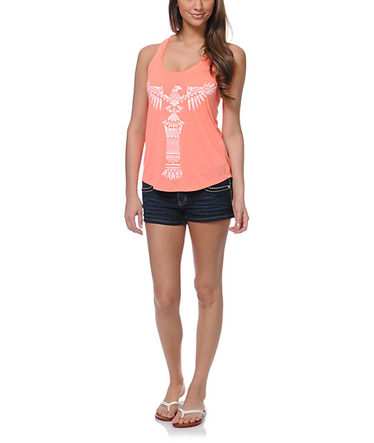 Empyre Casey Totem Neon Coral Tank Top