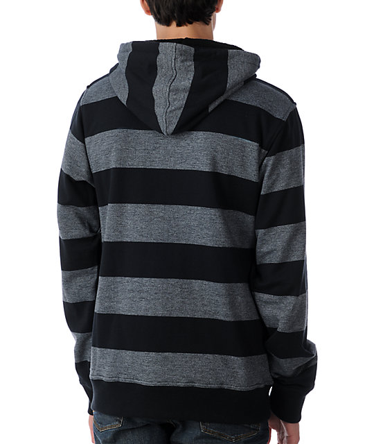 Empyre Castro Heather Black Striped Sherpa Hoodie