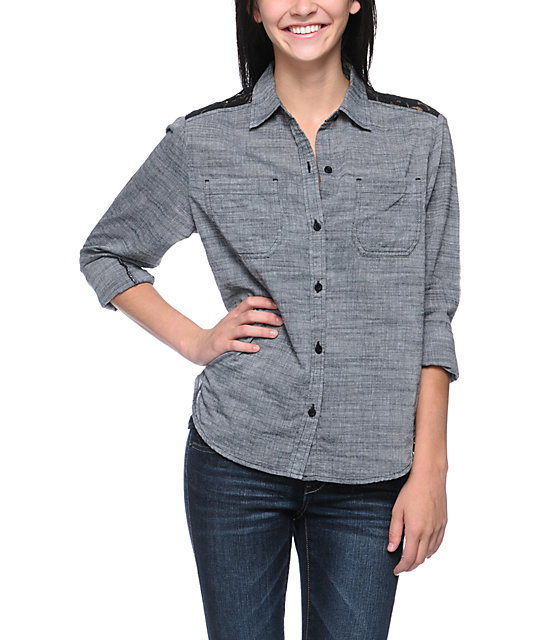 Empyre Chakra Charcoal & Black Button Up Shirt