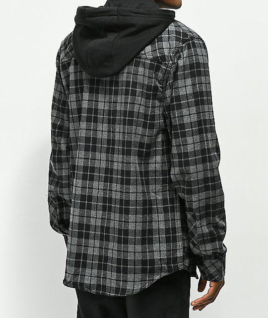 Empyre Chancer Charcoal & Black Zip Hooded Flannel Shirt
