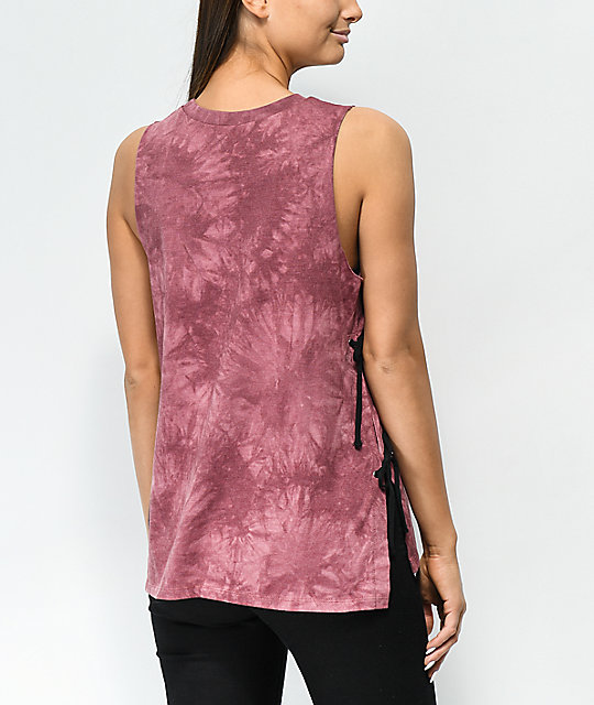 Empyre Charlie Rose Lace-Up Burgundy Tie Dye Tank Top