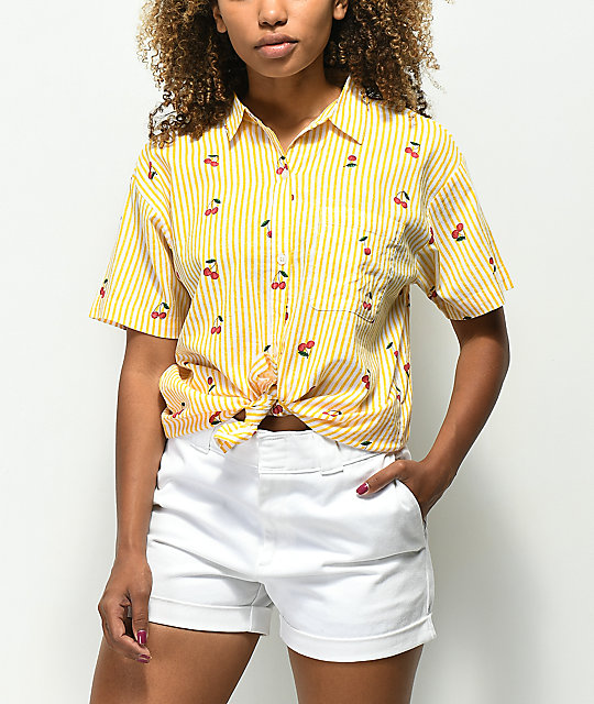 Empyre Cherry Stripe Knot Front Button Up Shirt
