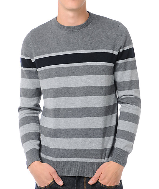 Empyre Clouded Grey Striped Crew Neck Sweater