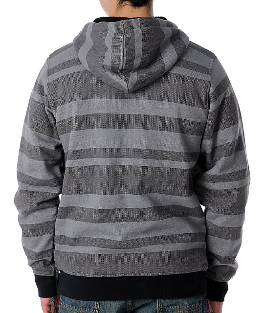 Empyre Coal Black & Grey Striped Sherpa Hoodie