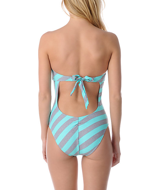 Empyre Colella Turquoise Striped Bandeau Swimsuit