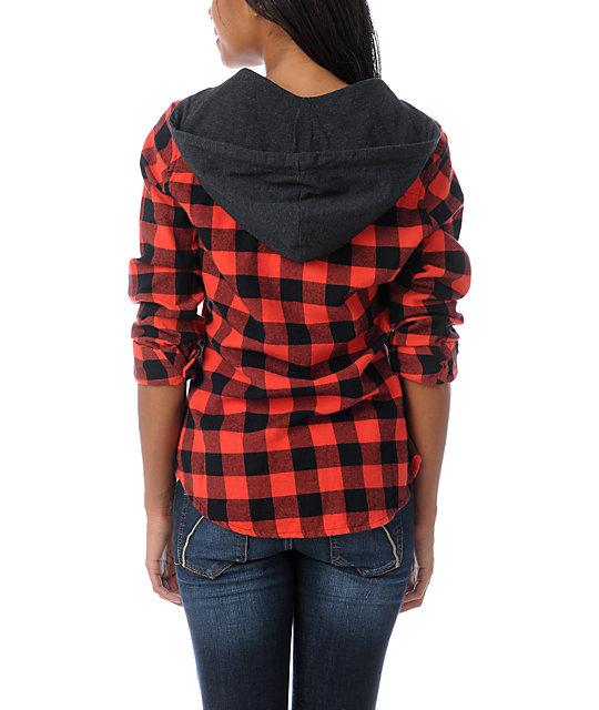 1b7e4252 Empyre Conifer Red Buffalo Plaid Hooded Flannel Shirt   Zumiez