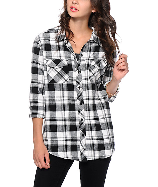 Womens Black And White Flannel Shirt