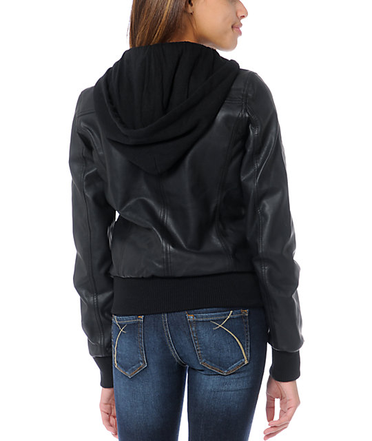 Empyre Coven Black Hooded Bomber Jacket
