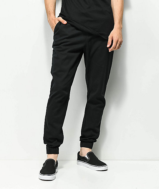excellent quality buy real best authentic Empyre Creager Stretch Elastic Waist Black Jogger Pants
