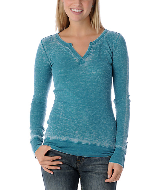Empyre Curtail Teal Burnout Thermal Top