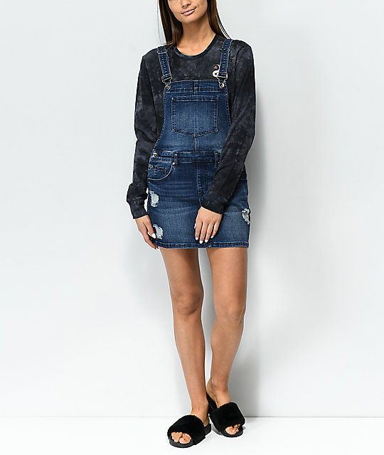Empyre Cypress Distressed Medium Wash Denim Overall Dress