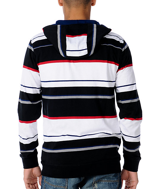 Empyre Diabolical Black Striped Pullover Hooded Shirt
