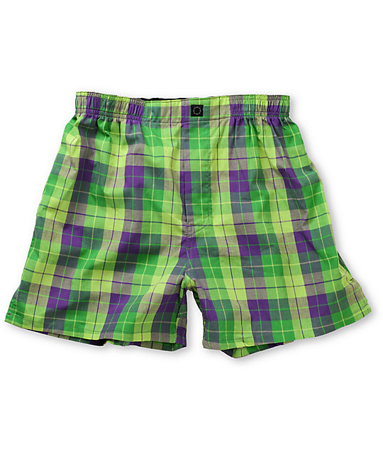 Empyre Dumptruck Green & Purple Plaid Boxers