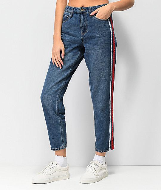 b33aaec549bdf Empyre Eileen Side Stripe Medium Wash Mom Jeans