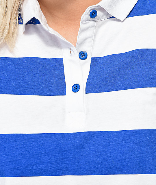 8a769c6d7f3 ... Empyre Elexis Rugby Blue & White Striped Crop Long Sleeve T-Shirt ...