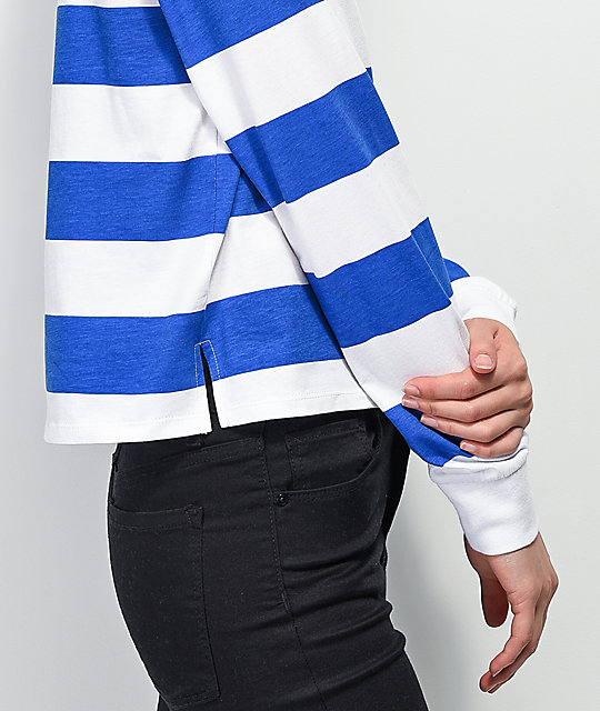 748c8d87891 ... Empyre Elexis Rugby Blue & White Striped Crop Long Sleeve T-Shirt