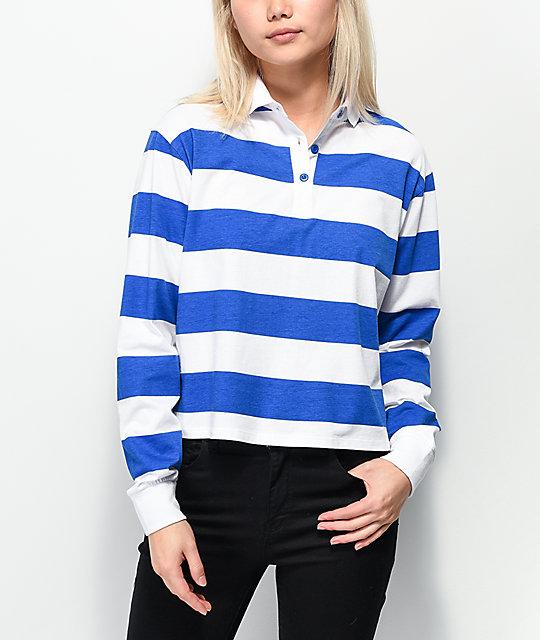 564053c27ba Empyre Elexis Rugby Blue & White Striped Crop Long Sleeve T-Shirt | Zumiez