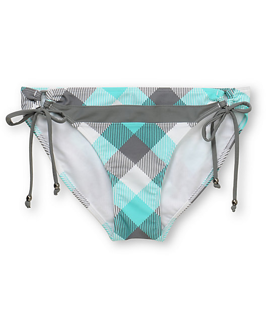Empyre Ellis Turquoise Buffalo Plaid Tunnel Side Bikini Bottom