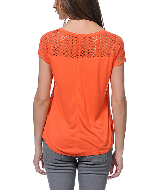 Empyre Emmi Coral Crochet Pocket T-Shirt