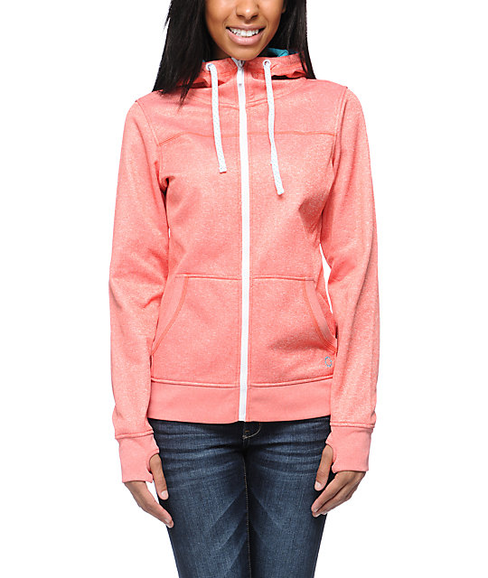 Empyre Essential Heather Coral Full Zip Tech Fleece Jacket