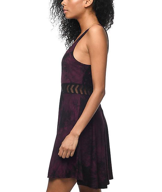 Empyre Estella Insert Burgundy Tie Dye Dress