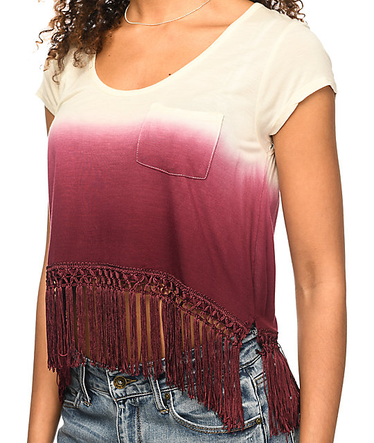 Empyre Fakie Burgundy Ombre Crop Top