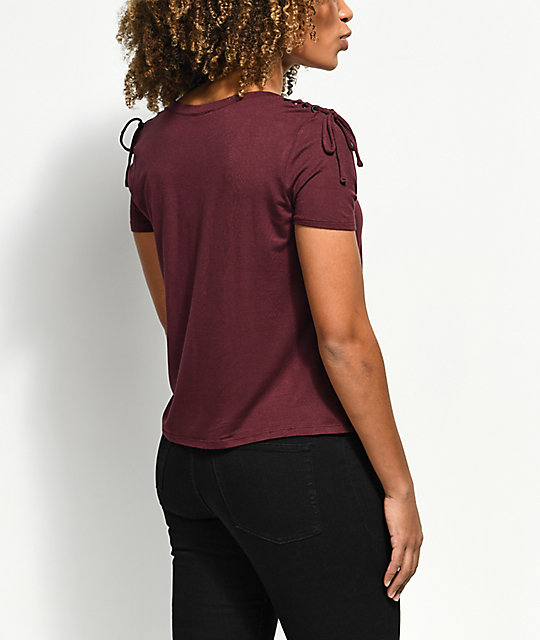 Empyre Fantana Lace Up Shoulder Burgundy T-Shirt