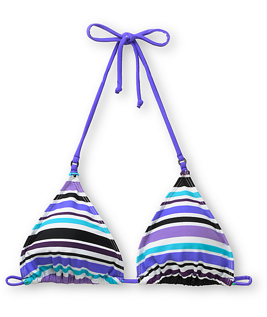 Empyre Fascia Teal & Purple Striped Bikini Top