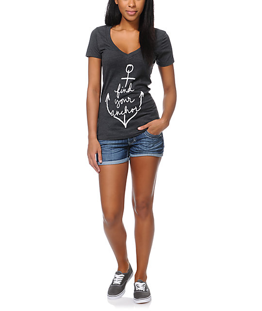 Empyre Find Your Anchor Charcoal V-Neck T-Shirt