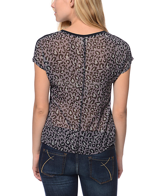 Empyre Finnley Animal Print Black Chiffon Back Top