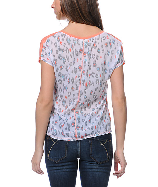 Empyre Finnley Coral Chiffon Back Shirt