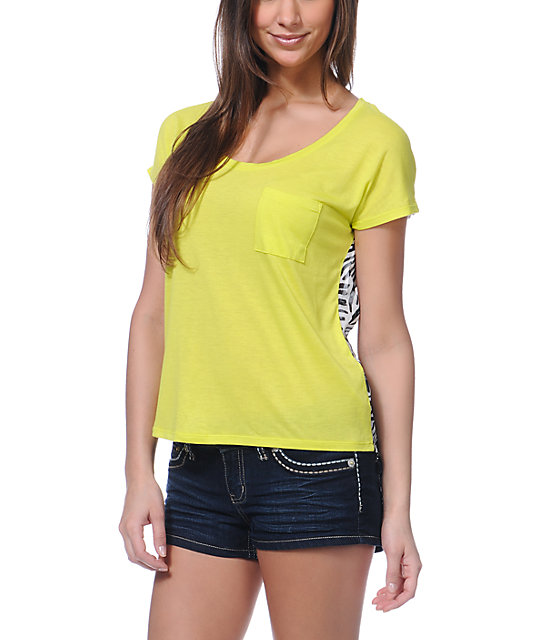 Empyre Finnley Lime Yellow Chiffon Back Shirt