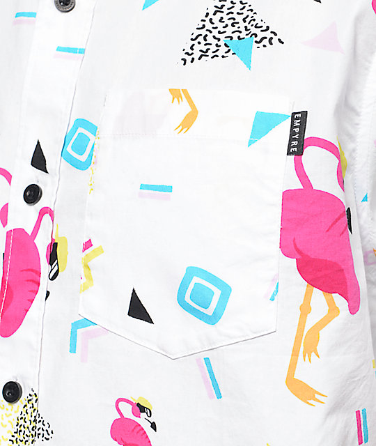 Empyre Flamingo Print White Button Up Shirt