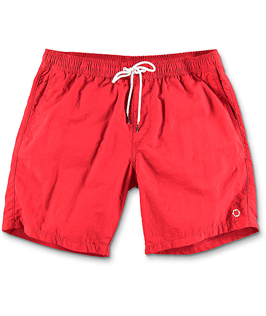Empyre Floater Red Nylon Elastic Waist Board Shorts