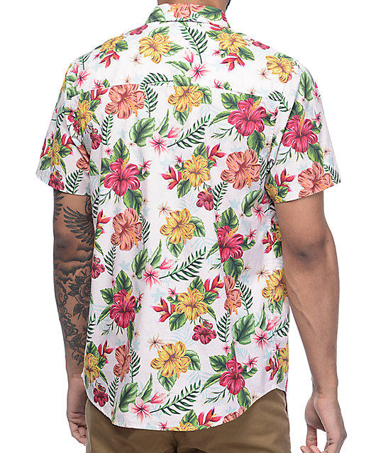 Empyre Fredrico Pink Tropical Short Sleeve Button Up Shirt