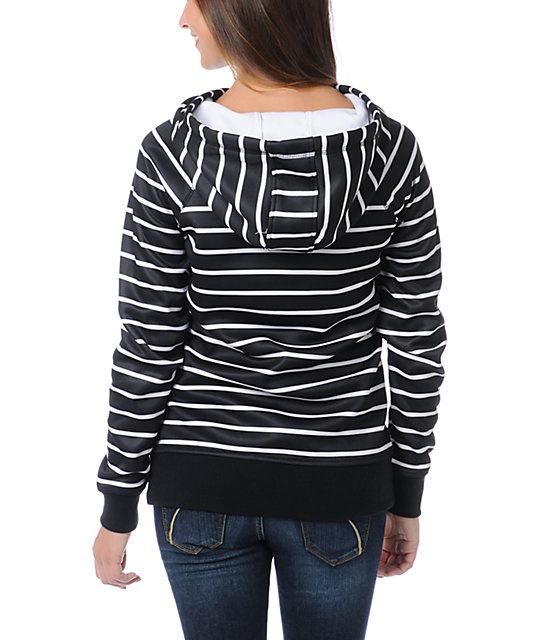 Empyre Frosty Black & White Stripe Pullover Tech Fleece Jacket