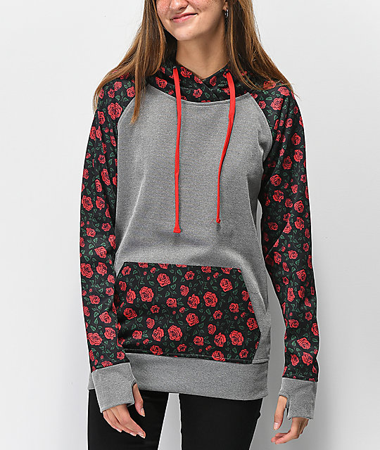 Empyre Frosty Roses sudadera gris con capucha