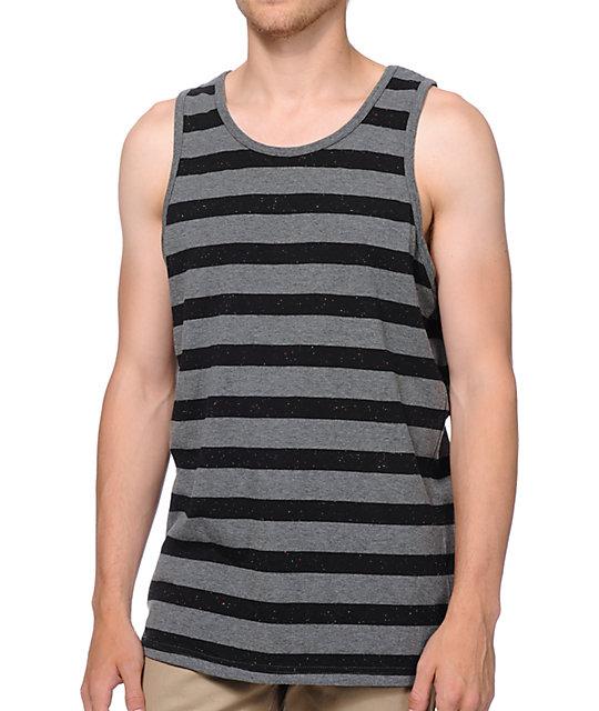 Empyre Funfetti Black & Grey Striped Tank Top ...