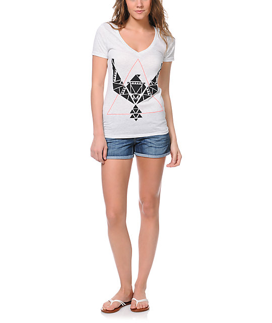Empyre Geometry Heather White V-Neck T-Shirt