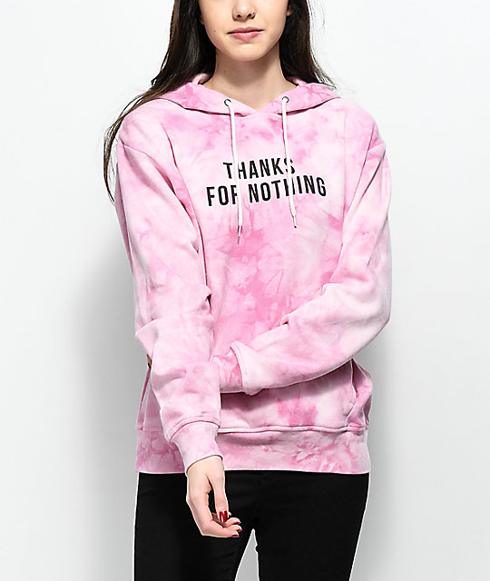 Empyre Gillian Thanks For Nothing Pink Tie Dye Hoodie