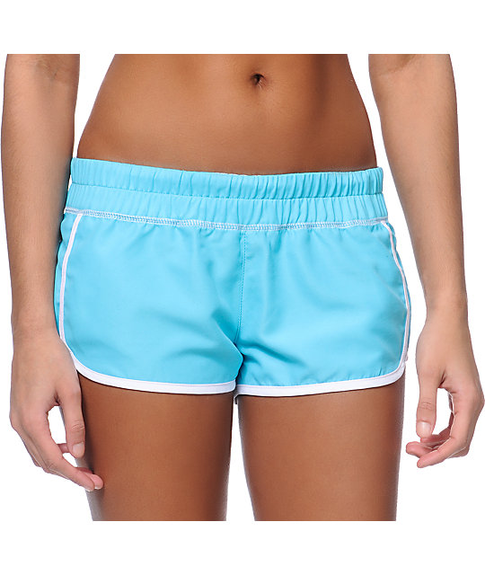 Empyre Girl Una Turquoise & White Board Shorts