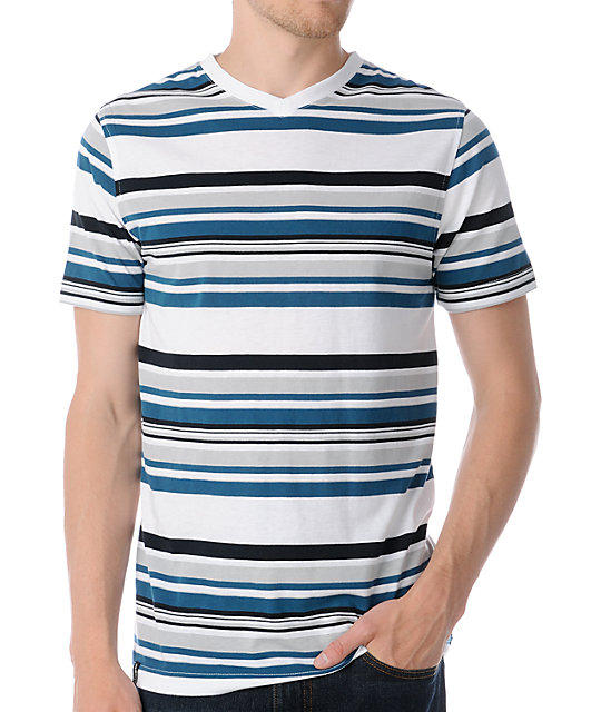 Empyre Glacial Blue Striped V-Neck T-Shirt