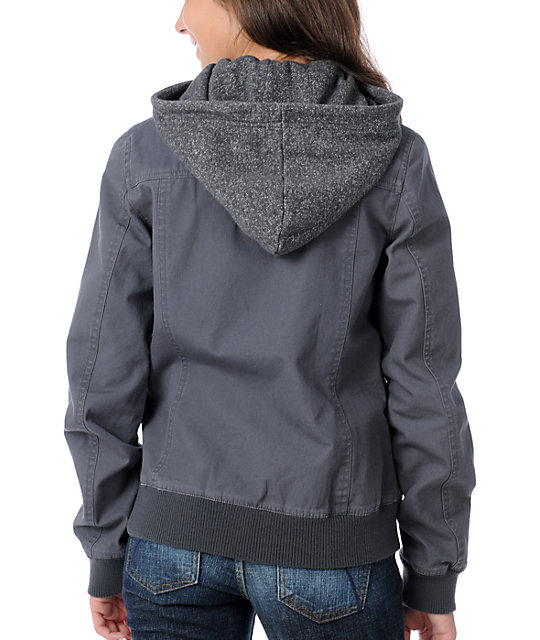 Empyre Glacier Charcoal Canvas Bomber Jacket