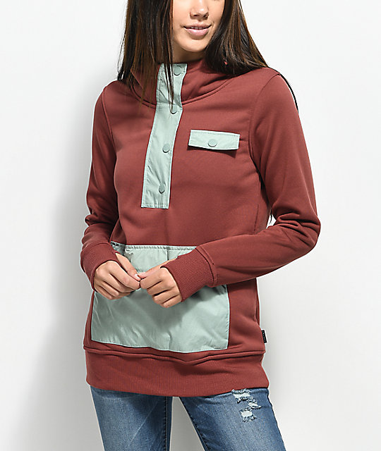 Empyre Graham Tech Fleece Mauve Partial Zip Hoodie