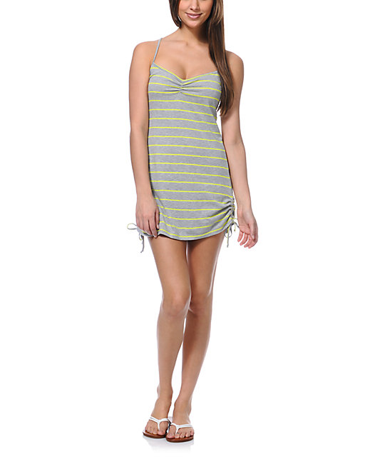 Empyre Grey & Yellow Stripe Side Tie Tank Dress